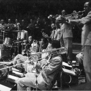 An unknown jazz band performing in concert,1950s..
