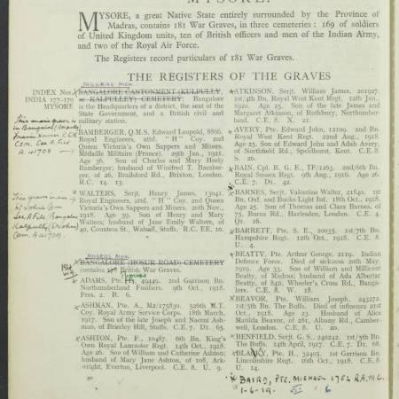 Register of Grave - William Joseph Beavor