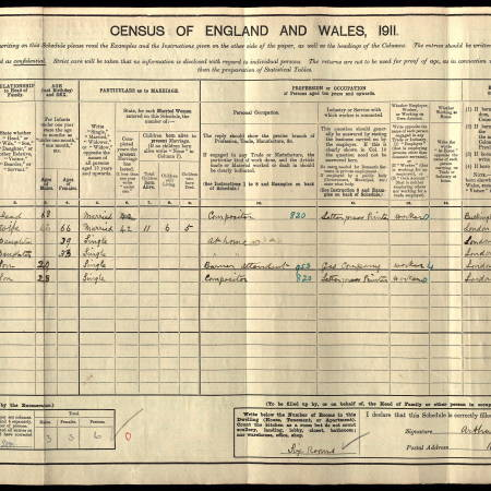 1911 Census for 16 Romberg Road, Upper Tooting