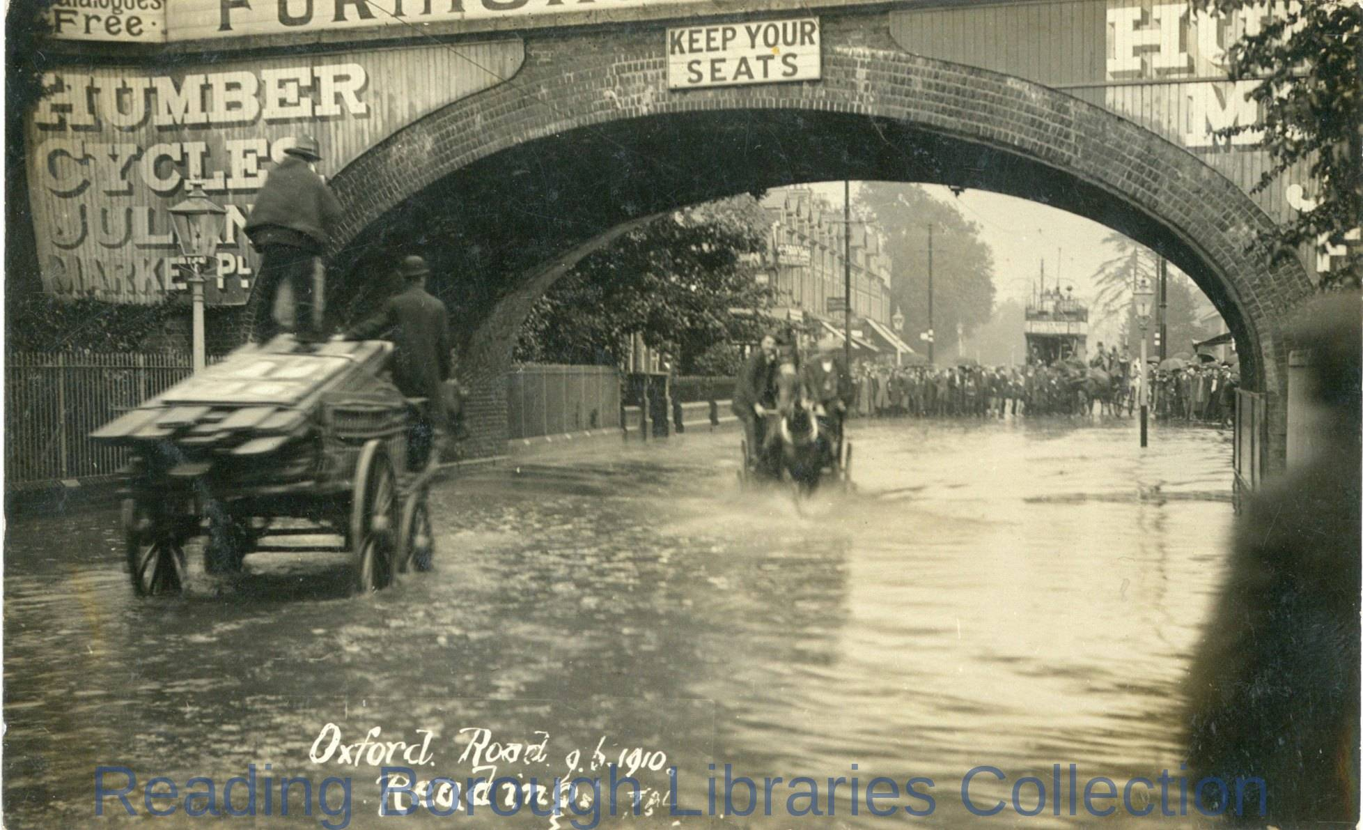 Flooding in Oxford Road, Reading, 9 June 1910.