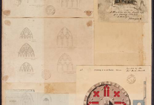 Various window sketches and drawing of an old knocker
