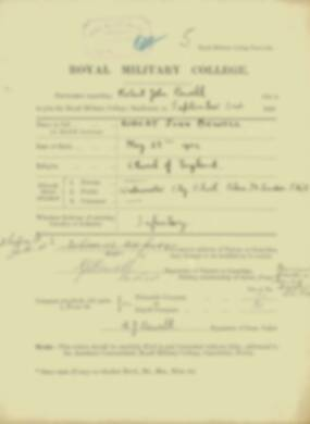 Robert Bewell -  RMC Form 18A Personal Detail Sheets Jan & Sept 1920 Intake
