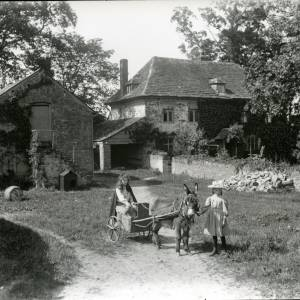 G36-003-10 Two girls with donkey cart in field at back of Saltmarsh Castle.jpg