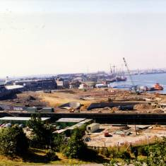 View over Brigham and Cowan's Yard from River Drive
