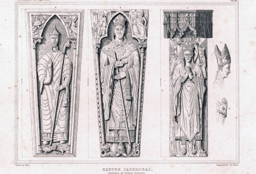 Effigies of three Bishops, Exeter Cathedral, 1825, Exeter