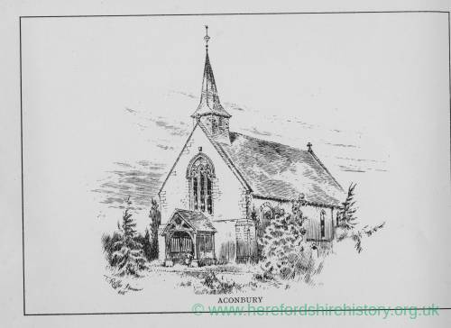 Aconbury Church, Herefordshire, print by T Raffles