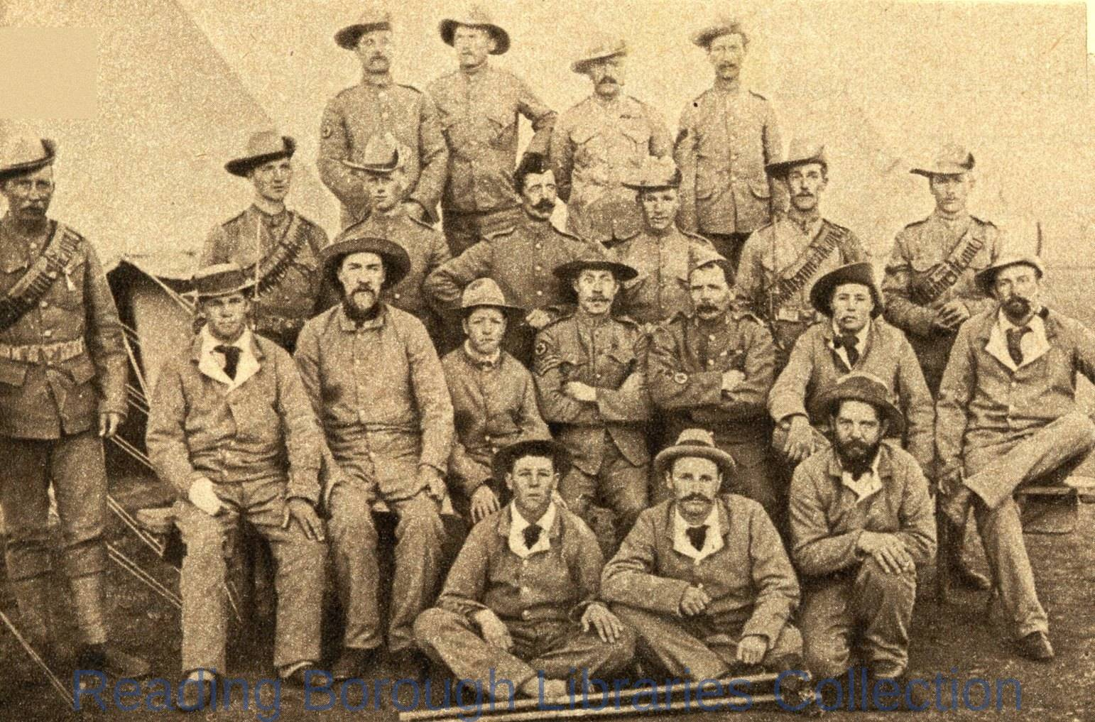 Wounded men of the Royal Berkshire (Mounted) Regiment in South Africa, 1900. 1900-1909.