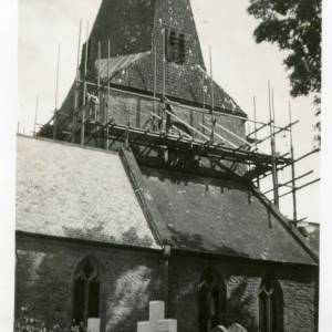 Fownhope Church spire under repair, 1933