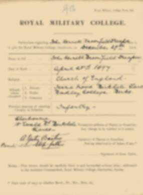 RMC Form 18A Personal Detail Sheets Jan 1915 Intake - page 108