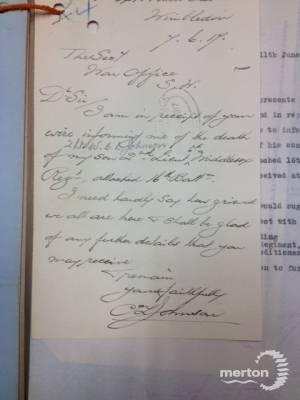 Letter to War Office