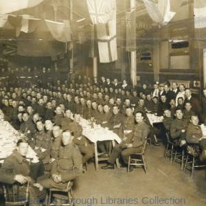 Over 200 Non-Commissioned Officers, 7th and 8th Battalions, Royal Berkshire Regiment, and the Young Men's Christian Association (YMCA), Friar Street, Reading, 1915.