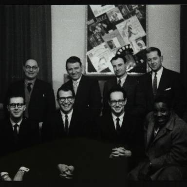Joe Morello, Dave Brubeck, Paul Desmond and Eugene Wright (front row, left toright). Mr Brown, Mr Lewis, Ken Aldridge and Harold Pendleton (left to right)