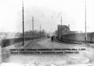 Plough Lane, Wimbledon: Road widening for the tram service