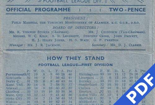 19490326 Official Programme Southend United Home FCC