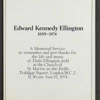 Duke Ellington Memorial Service – London – June 1974