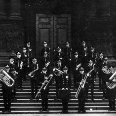 Military Band on steps of Town Hall 1933