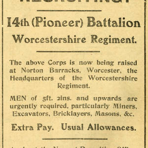 Recruiting - 14th (Pioneer) Battalion Worcestershire Regiment
