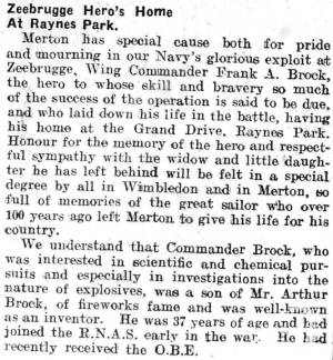 Newspaper Extract - Frank Arthur Brock