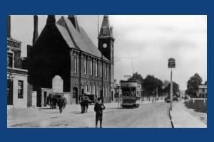 Tram terminus, Cricket Green, Mitcham