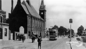 Tram terminus, Cricket Green, Mitcham