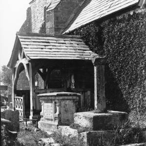Allensmore church, cross and south porch, 1928