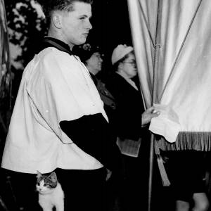 188 - Choir boy holding banner, kitten in his pocket