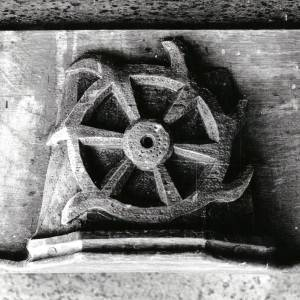 Wooden carving of a wheel at Canon Pyon church, 1902