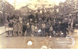 Meadow Road residents celebrating V E Day, 1945