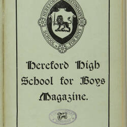 Hereford High School For Boys Magazine Vol 5 No 1_Autumn Term 1918