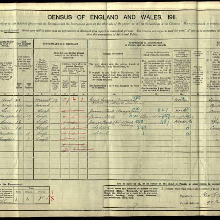 1911 Census - 92 Cromwell Road, Wimbledon
