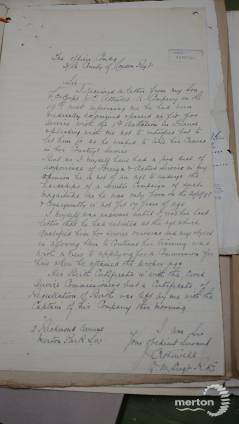 Letter from father to Commanding Officer - John Charles Attewell