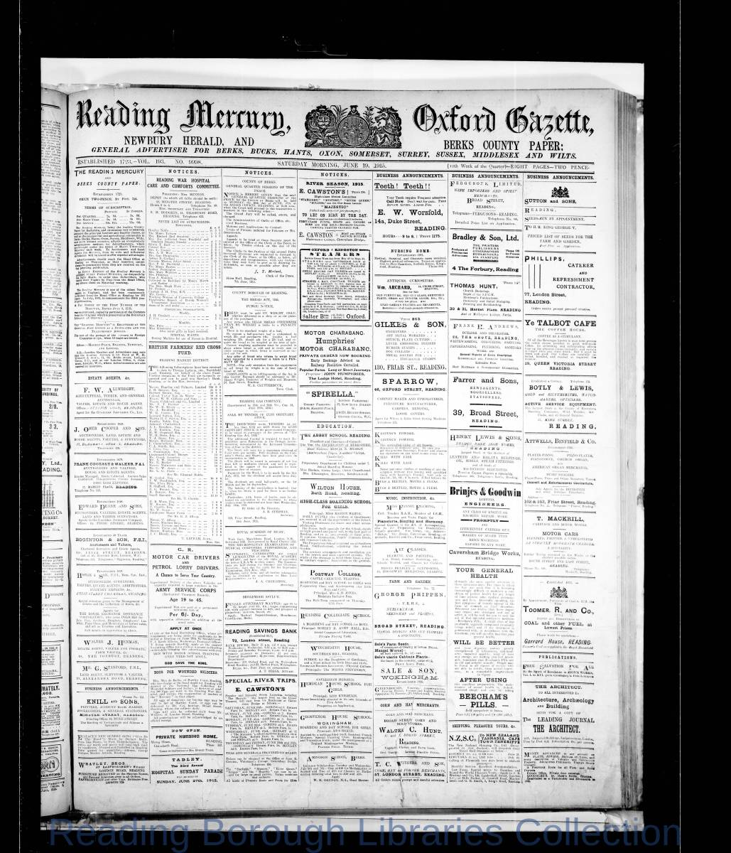 Reading Mercury Oxford Gazette Saturday June 17, 1915. Pg 1