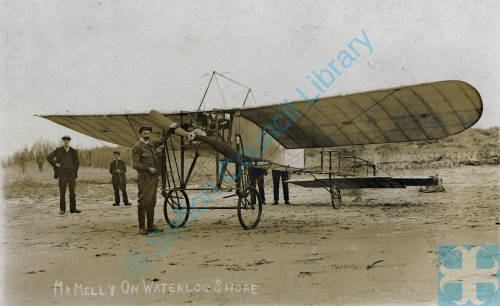 Aviator Henry Melly with his Bleriot monoplane onWaterloo Shore