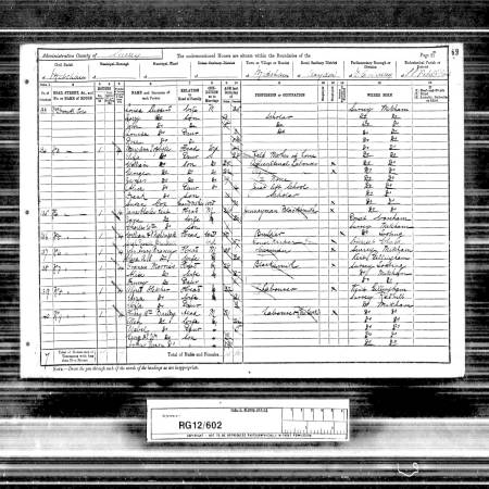 1901 Census for 2 Gladstone Road, Cromwell Terrace, Mitcham