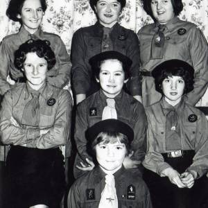 RGR005 Girl Guides, Ross-on-Wye back to front left to right Patsy Element, Esme Pain, unkown, Jill Jarvis, unkown, Miss Bristow, Miss Marshall.jpg