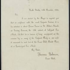 Letter from Thomas Salmon, Town Clerk