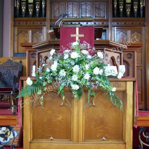 High Green Methodist Church flower arrangement at front of church
