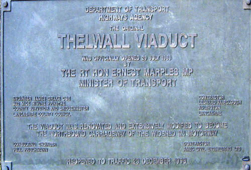Thelwall Viaduct viaduct plaque