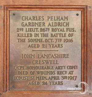 Memorial Plaque - Aldrich & Creswell