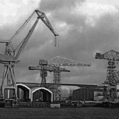 View over river of Swan Hunters Shipyard, Wallsend