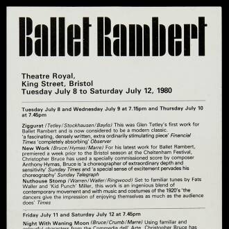 Theatre Royal, Bristol, July 1980