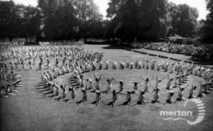 Wimbledon County School for Girls:  Gym Display, 1954
