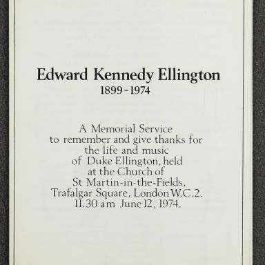 Duke Ellington Memorial Service – London – June 1974