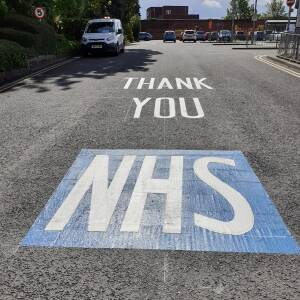Thank you NHS road markings 1, Commercial Road bus station, Hereford, 1 May 2020
