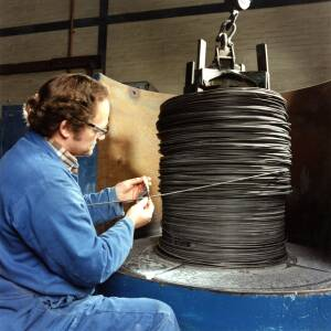 Working with wire at Wiggins in Hereford.