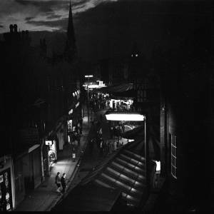 Hereford May Fair at night and from above, 1962