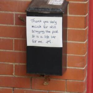 Personal notice for the postman