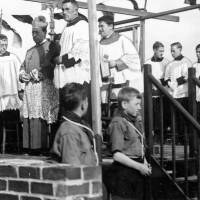 Archbishop Downey laying the foundation stone of St Robert Bellarmine School, Bootle, 1934