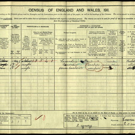 1911 Census - 20 Smith's Buildings, Mitcham