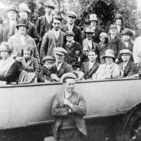 An overcrowded charabanc taking employees of Johnsons Dyeworks on a day-trip, Bootle, 1927